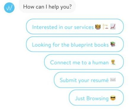 Figure 5. Chat bot with an easy to answer question